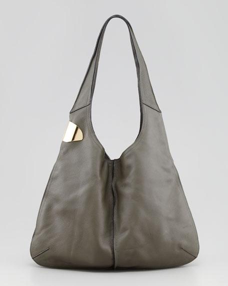Leather Sack Hinge Hobo Bag, Grape Leaf