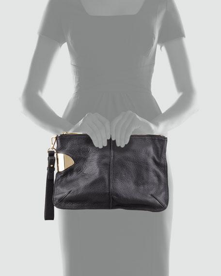 Large Leather Wristlet Clutch Bag, Black