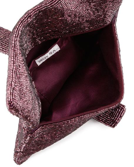 Beaded Flap-Top Clutch Bag, Aubergine