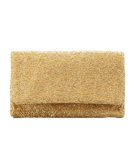 Beaded Flap-Top Clutch Bag, Gold