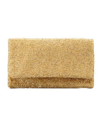 Beaded Flap-Top Clutch Bag, Gold