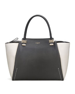 Lanvin Trilogy Leather Tote Bag, Black/White
