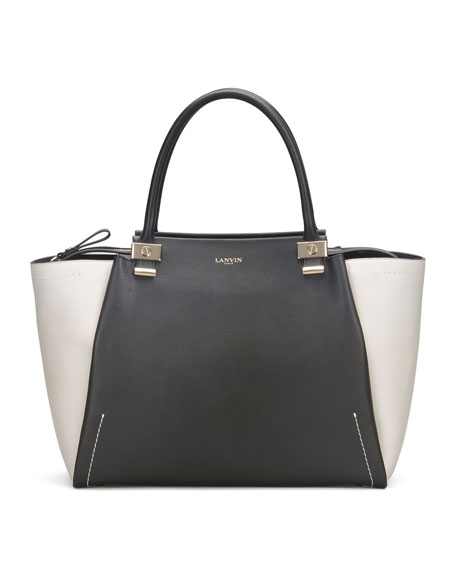 Trilogy Leather Tote Bag, Black/White