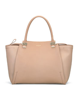Lanvin Trilogy Leather Tote Bag, Beige