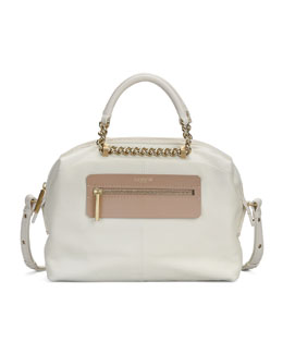 Lanvin Padam Bicolor Bowling Satchel Bag, White