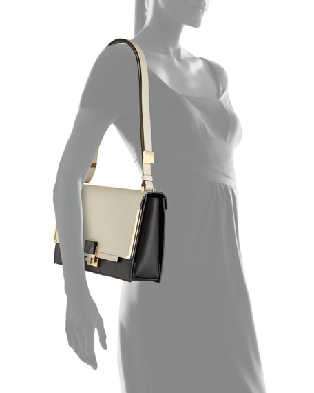 Partition Two-Tone Shoulder Bag, White/Black