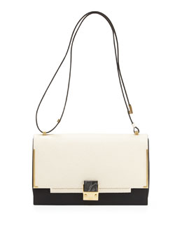 Lanvin Partition Medium Two-Tone Shoulder Bag, White/Black