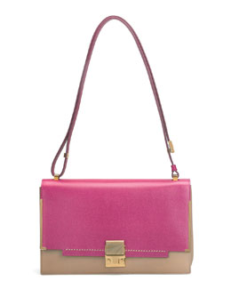 Lanvin New Partition Shoulder Bag, Pink/Brown