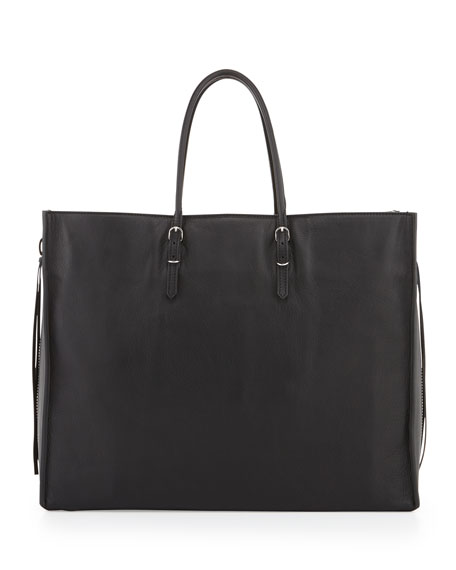 Papier A4 Side Zip Leather Tote Bag, Noir