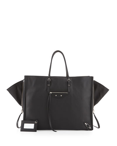Balenciaga Papier A4 Side Zip Leather Tote Bag, Noir