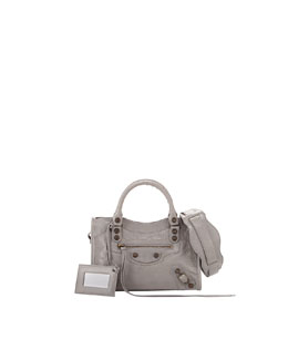 Balenciaga Classic Mini City Bag, Light Gray
