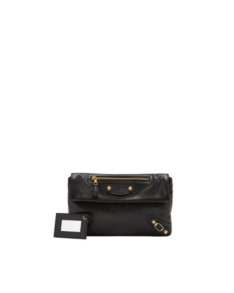 Giant 12 Golden Envelope Clutch Bag, Black