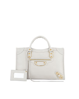 Balenciaga Classic City Metallic Edge Bag, Light Gray