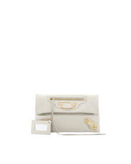 Balenciaga Metallic Edge Classic Envelope Clutch Bag, Light Gray