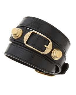 Balenciaga Giant 12 Yellow Golden Leather Double Wrap Bracelet, Black