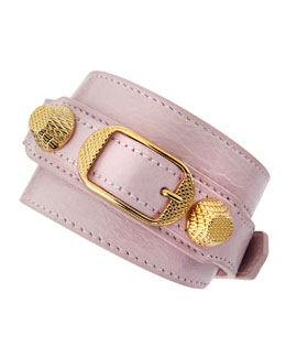Balenciaga Giant 12 Yellow Golden Leather Single Strap Bracelet, Rose