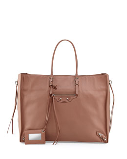 Balenciaga Papier A4 Side Zip Leather Tote Bag, Tomette
