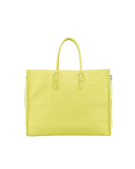 Papier A4 Side Zip Leather Tote Bag, Yellow