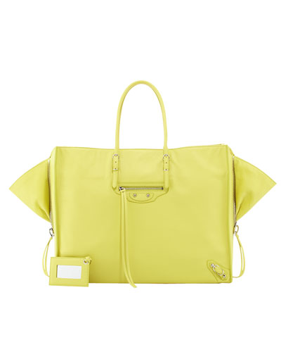 Balenciaga Papier A4 Side Zip Leather Tote Bag, Yellow