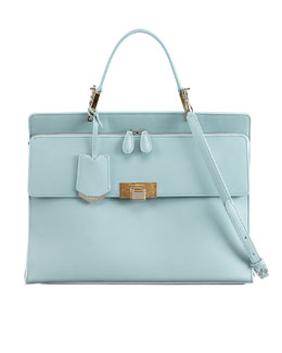 Balenciaga Le Dix Cartable Zip Satchel Bag, Blue