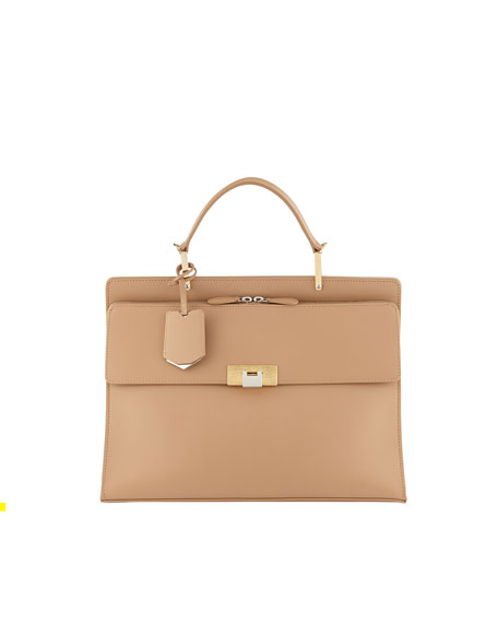 Le Dix Cartable Zip Satchel Bag, Beige