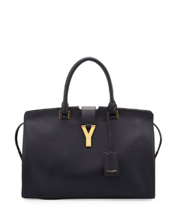 Saint Laurent Classic Cabas Y-Ligne Medium Leather Carryall Bag, Navy