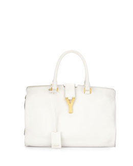 Saint Laurent Classic Cabas Y-Ligne Medium Leather Carryall Bag, White