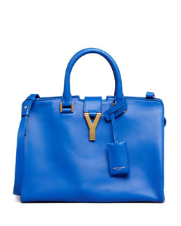 Saint Laurent Y-Ligne Cabas Mini Leather Bag, Cobalt