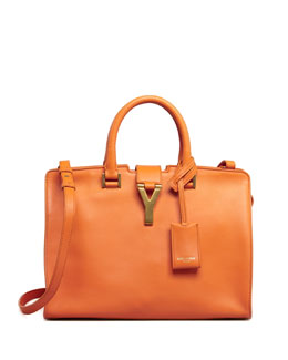 Saint Laurent Y-Ligne Cabas Mini Leather Bag, Orange