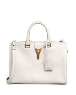Saint Laurent Y-Ligne Cabas Mini Leather Bag, White