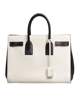 Saint Laurent Sac de Jour Carryall Bag, White/Black