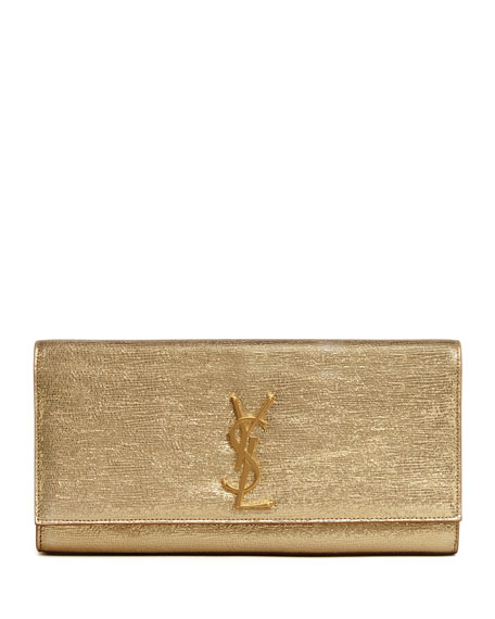 Cassandre Metallic Logo Clutch Bag, Golden
