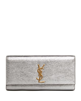 Saint Laurent Cassandre Metallic Logo Clutch Bag, Silver