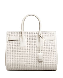 Saint Laurent Sac de Jour Studded Box Laque Carryall Bag, White