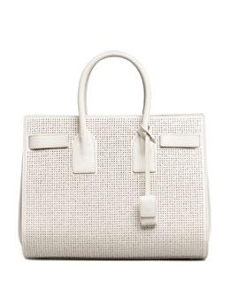 Saint Laurent Sac de Jour Studded Box Laque Carryall Bag, White