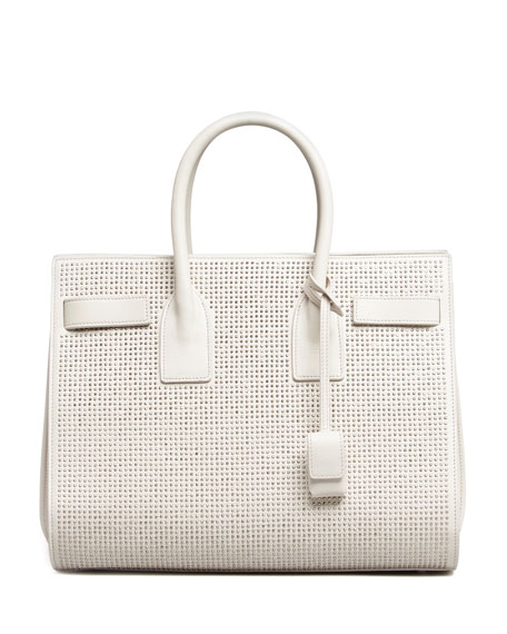 Sac de Jour Studded Box Laque Carryall Bag, White