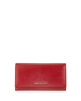 Saint Laurent Letters Continental Flap Wallet, Red