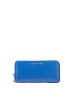 Saint Laurent Letters Continental Zip Wallet, Cobalt