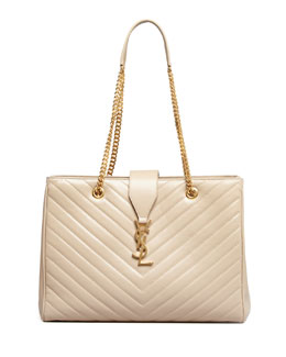 Saint Laurent Cassandre Chain-Strap Matelasse Shopper Bag, Beige