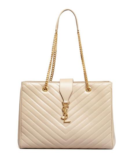 Cassandre Chain-Strap Matelasse Shopper Bag, Beige
