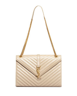 Saint Laurent Cassandre Chain-Strap Matelasse Shoulder Bag, Beige