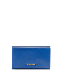 Saint Laurent Logo-Lettered Wallet-on-a-Chain, Cobalt