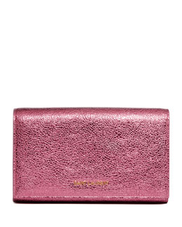Saint Laurent Metallic Logo-Lettered Wallet-on-a-Chain, Pink