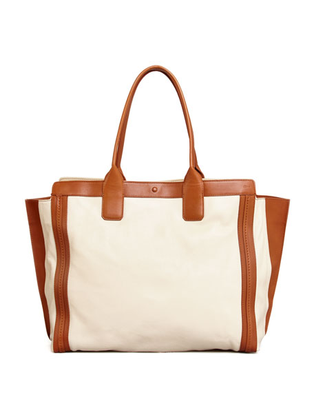 Alison East-West Colorblock Tote Bag, White/Tan