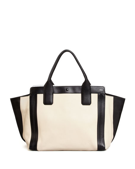 Alison East-West Tote Bag, White/Black