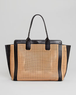 Chloe Alison Small Perforated East-West Tote Bag, Sand/Black