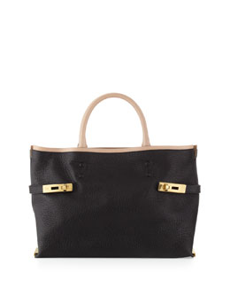 Chloe Charlotte Medium Tote Bag, Black/Cream