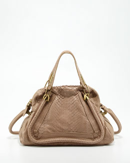 Chloe Paraty Medium Python Shoulder Bag, Sand