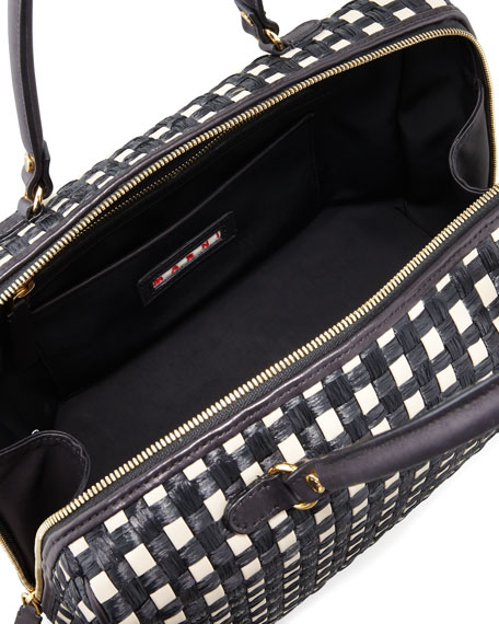 Woven Raffia & Leather Satchel Bag, Black/White