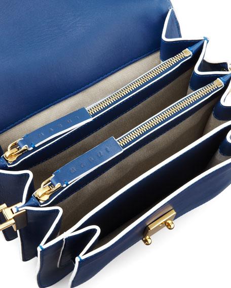 Flap Top Triple-Gusset Shoulder Bag, Navy